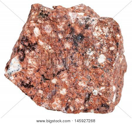 Red Dacite Mineral Isolated On White