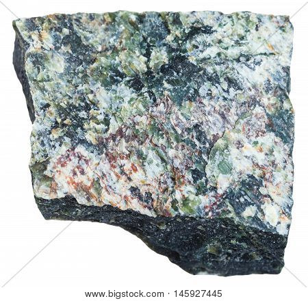 macro shooting of Igneous rock specimens - Dunite (olivinite) stone isolated on white background poster