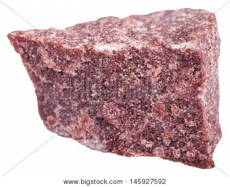 Red Quartzite Mineral Isolated On White