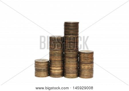 columns of Russian ten ruble coins isolated