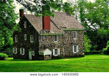 Chadds Ford Pennsylvania - June 9 2015: Benjamin Ring House used as headquarters by Gen. George Washington during the 1777 Revolutionary War Battle of the Brandywine