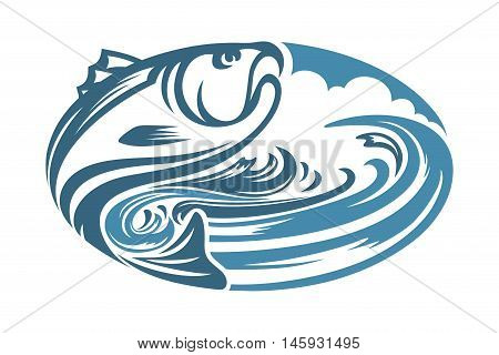 abstract elliptical fish and water, suitable for icons, app and symbol