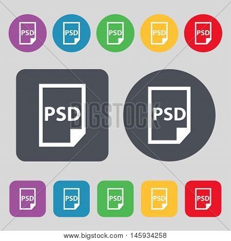 Psd Icon Sign. A Set Of 12 Colored Buttons. Flat Design. Vector