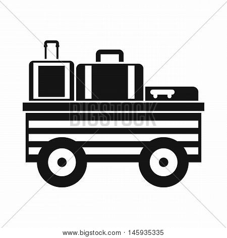 Service cart with luggage icon in simple style isolated on white background vector illustration