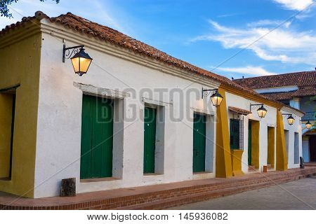 Street lights and beautiful colonial architecture in Mompox Colombia