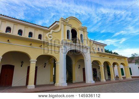 View of the renovated historic market in Mompox Colombia