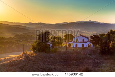 Tuscan Villa in Italian Countryside at sunrise