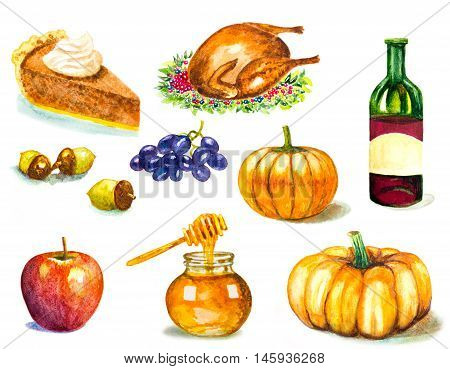 thanksgiving symbols set on white. watercolor hand painted illustration