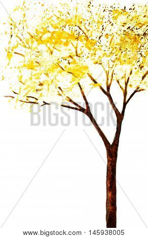 watercolor background with hand painted yellow autumn tree