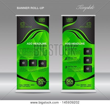 Green Roll up banner template vector, roll up stand, banner design, stand design, display, polygon background