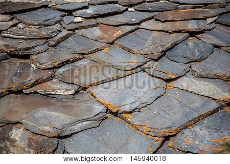 Schist Roof Tiles With Lichen in italy