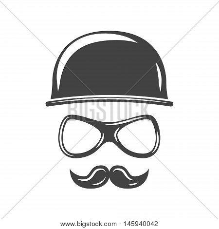 Hipster round retro hat eyeglasses and moustache. Black icon logo element flat vector illustration isolated on white background.