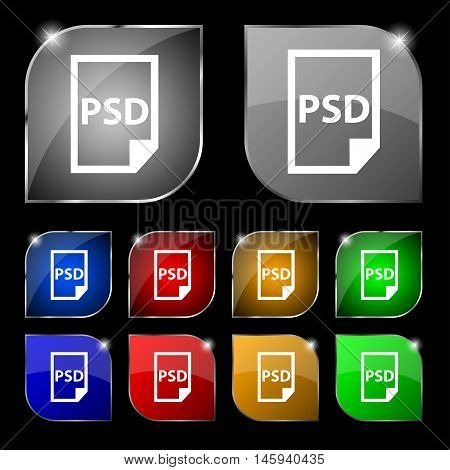 Psd Icon Sign. Set Of Ten Colorful Buttons With Glare. Vector