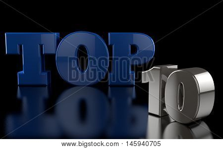 The words TOP 10 rendered in 3D on a shinny reflective black floor