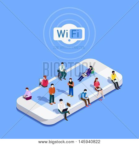 Flat vector metaphor People in wi-fi zone. Phone icon on which people sit Internet in the free zone.Public Wi-Fi zone wireless connection technology. Isometric 3d vector illustrations.