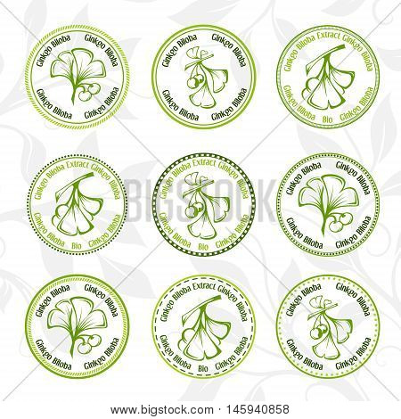 Ginkgo biloba. Circle stamps collection. Vector decorative isolated elements for package design.