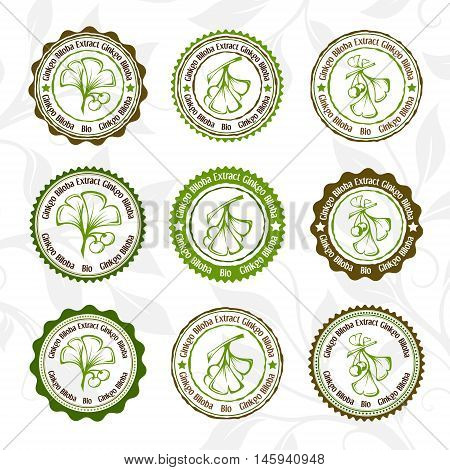 Ginkgo biloba. Circle stamps and stickers. Vector decorative isolated elements for package design.