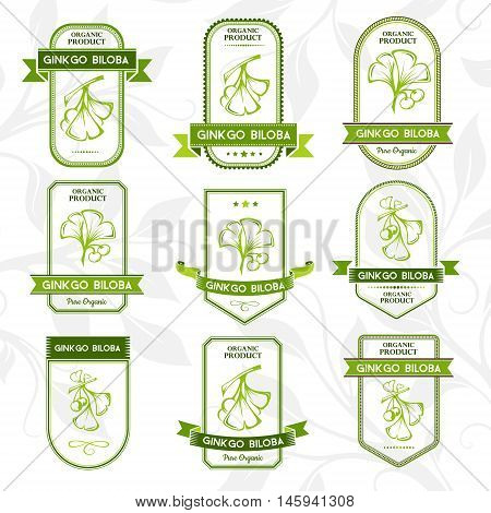 Ginkgo biloba. Labels collection. Vector decorative isolated elements for package design.