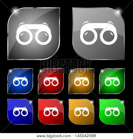 Binoculars Icon Sign. Set Of Ten Colorful Buttons With Glare. Vector