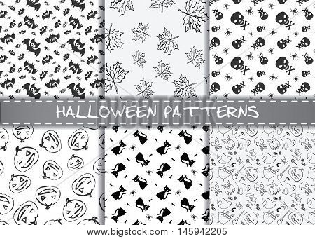 Set of halloween vector patterns. Endless monochrome halloween textures for wallpaper, pattern fills, web page,background, surface, textile, scrapbooking.