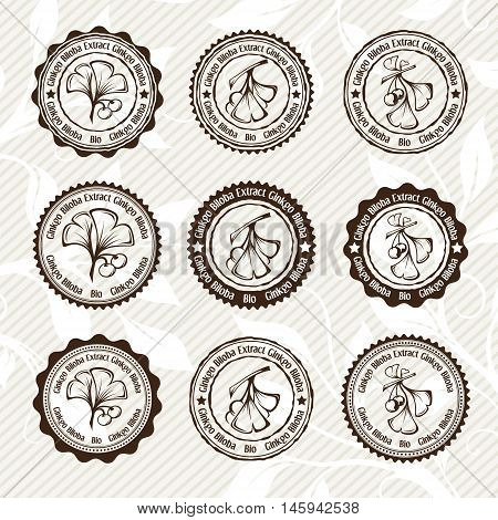 Ginkgo biloba. Circle stamps and stickers. Vector decorative isolated elements for package design. Monochrome version