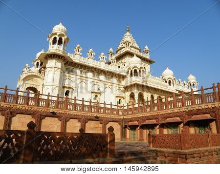 White and Brown Jainism Temple in Rajasthan, India