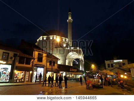 Illuminated Famous Landmark of the Old Town of Prizren, Kosovo poster