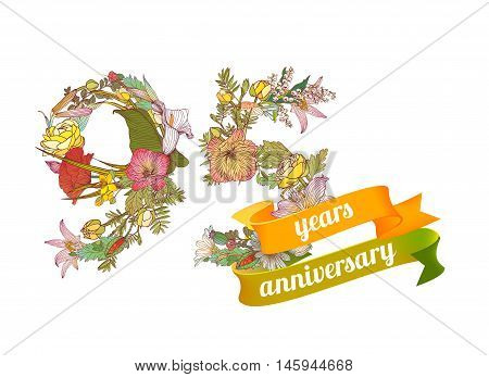 ninety five(95) years anniversary sign of floral digits