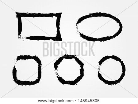 Set of empty grunge frames. Five isolated vector patterns for design.