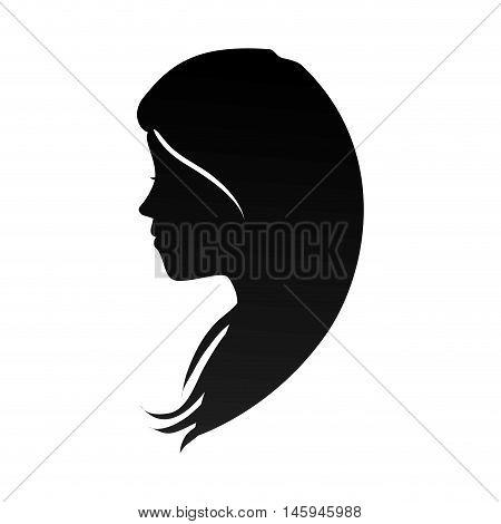 woman head profile hair female  girl casual silhouette vector illustration