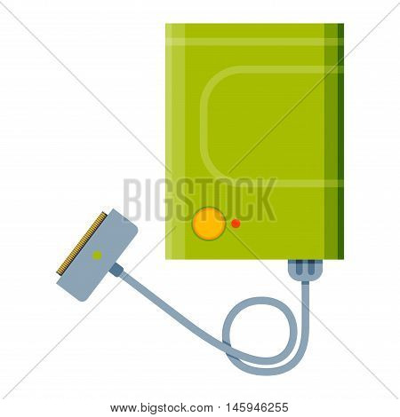 Charger vector flat illustartion. Technology charger vector isolated on white. Hi energy technology equipment icon. Charger element for phone or computer.