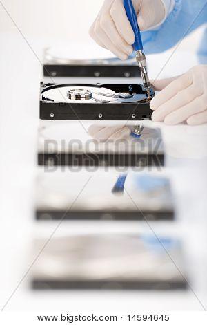 Computer Engineer Repair Hard Disc Defect, Sterile
