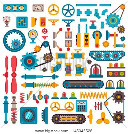 Machine parts different mechanism vector manufacturing work detail design. Gear different mechanism equipment part industry technical engine. Vector technology mechanism icons set factory tool.