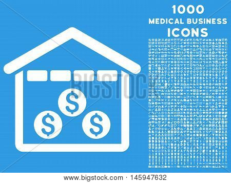 Money Depository vector icon with 1000 medical business icons. Set style is flat pictograms, white color, blue background.