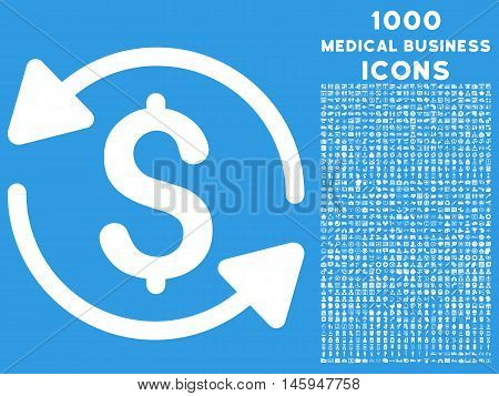 Money Turnover vector icon with 1000 medical business icons. Set style is flat pictograms, white color, blue background.