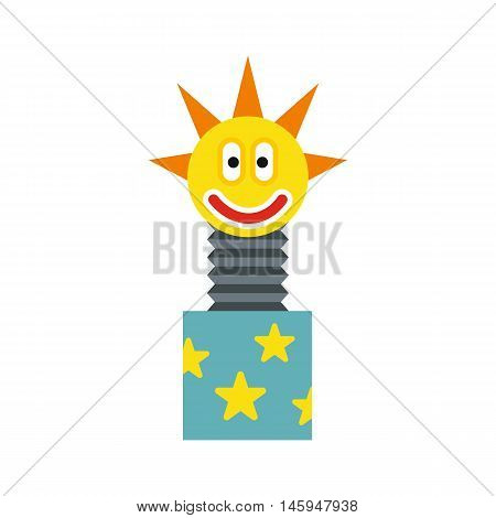 Toy jumping out of box icon in flat style isolated on white background. Joke symbol vector illustration