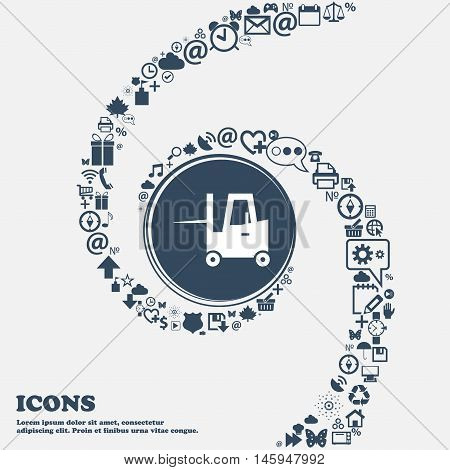 Forklift Icon In The Center. Around The Many Beautiful Symbols Twisted In A Spiral. You Can Use Each