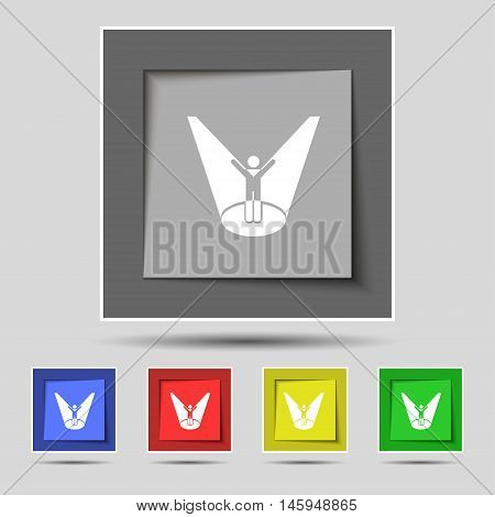 Spotlight Icon Sign On Original Five Colored Buttons. Vector