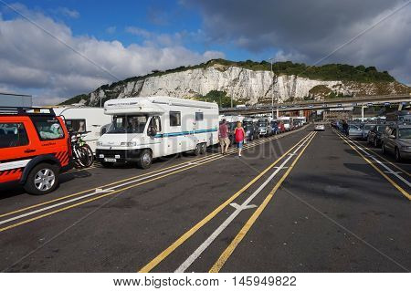 Dover, Kent, England, August 10 2016: Holidaymakers Cars Queuing To Board The Cross Channel Ferry To