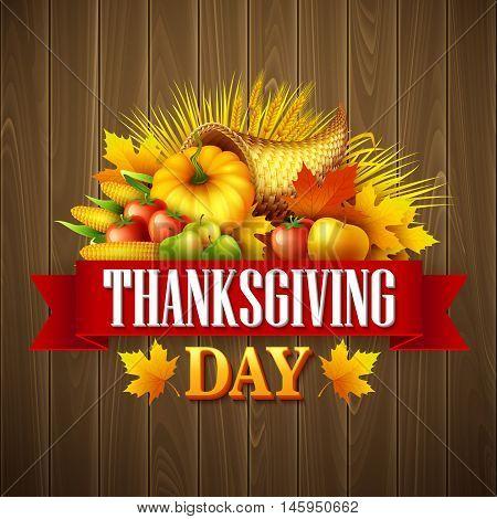 Illustration of a Thanksgiving cornucopia full of harvest fruits and vegetables. Fall greeting design. Autumn harvest celebration. Pumpkin and leaves. Vector illustration EPS10