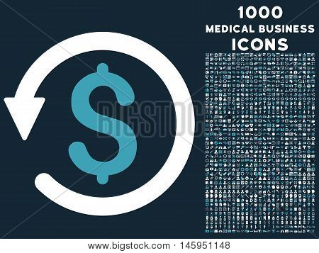 Chargeback vector bicolor icon with 1000 medical business icons. Set style is flat pictograms, blue and white colors, dark blue background.