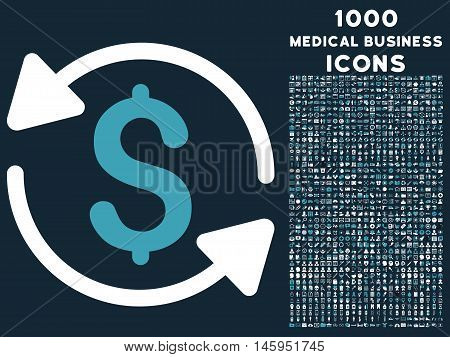 Money Turnover vector bicolor icon with 1000 medical business icons. Set style is flat pictograms, blue and white colors, dark blue background.