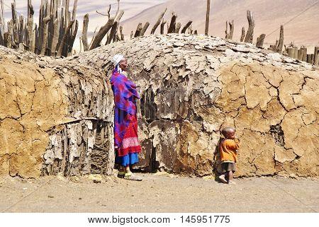 Arusha, Tz - Circa August 2010 - Masai Village In Serengeti National Park.
