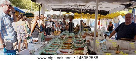 St Aygulf, Var, Provence, France, August 26 2016: Provencal Market Stall Selling Fresh Loose Spices