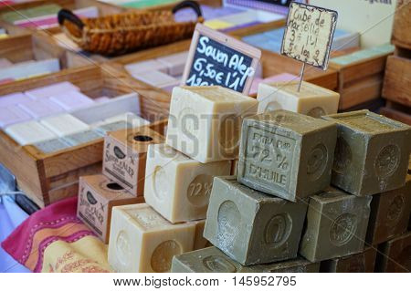 St Aygulf, Var, Provence, France, August 26 2016: Blocks Of Home Made Artisan Soap On A Provencal Ma