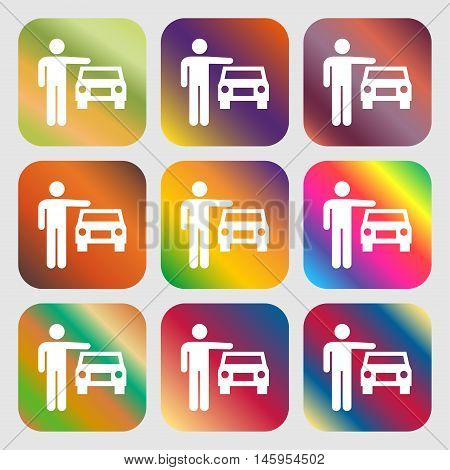 Person Up Hailing A Taxi Icon . Nine Buttons With Bright Gradients For Beautiful Design. Vector