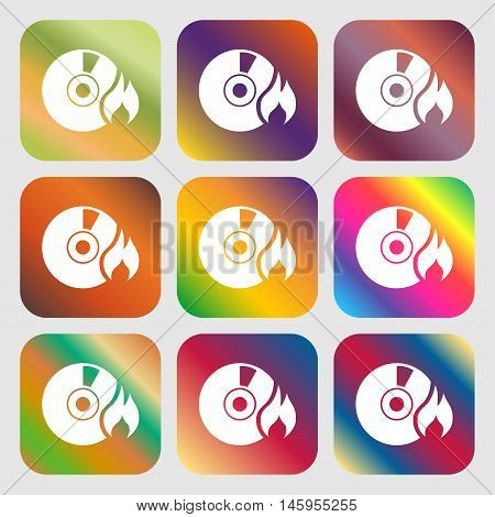 Cd Icon . Nine Buttons With Bright Gradients For Beautiful Design. Vector