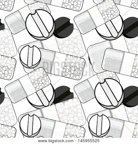 Seamless Pattern Coloring Medical Pill A Tablet. Vector Illustration