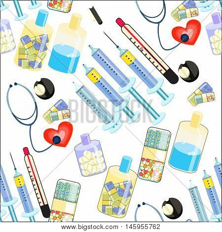 Seamless Pattern Medical Stethoscope, Thermometer, Syringe, A Tablet. Vector Illustration