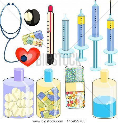Set Medical Stethoscope, Thermometer, Syringe, Pill. Vector Illustration